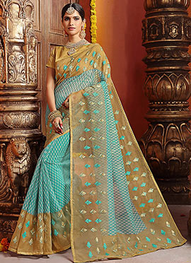 Blue N Beige Art Silk Saree