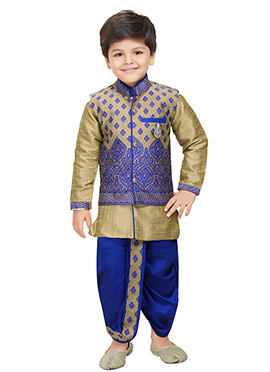 Blue N Beige Blended Cotton Kids Dhoti Kurta