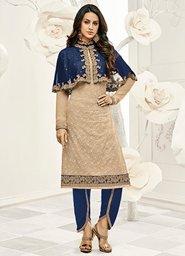 Blue N Beige Capes Style Straight Pant Suit