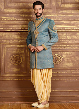 Blue N Beige Dhoti Style Angrakha Sherwani