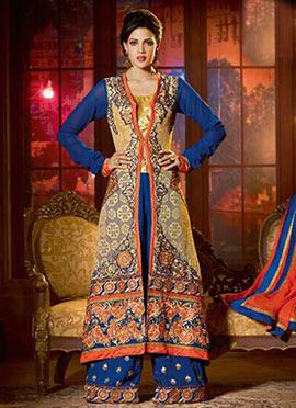 Blue N Beige Georgette Palazzo Suit