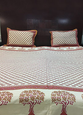 Beige Pure Cotton Bed Sheet