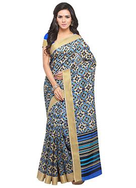Blue N Beige Tussar Silk Saree