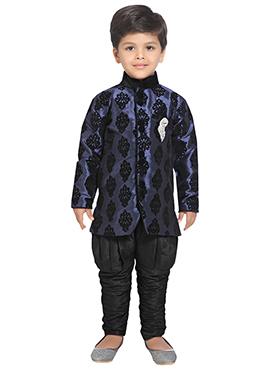 Blue N Black Breeches Style Sherwani