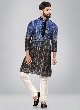 Blue N Black Art Dupion Silk Kurta Pyjama
