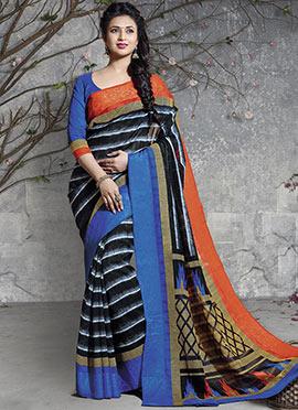 Divyanka Tripathi Blue N Black Art Silk Saree