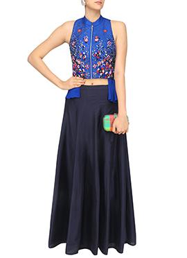 Blue Art Silk Skirt Set