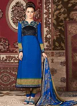 Blue N Black Crepe Straight Suit