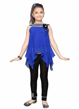 Blue N Black Georgette Kids Kurti Set