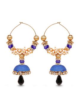 Blue N Black Hoops Silk Thread Earrings
