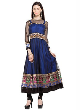 Blue N Black Net Embroidered Anarkali Kurti
