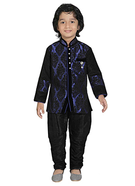 Blue N Black Silk Blend Kids Sherwani