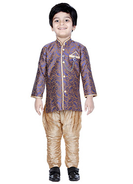 Blue N Brown Breeches Style Kids Sherwani