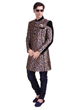 Blue N Brown Breeches Style Sherwani