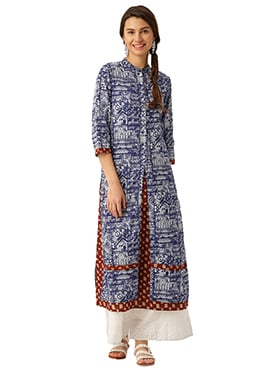 Blue N Brown Cotton Kurti