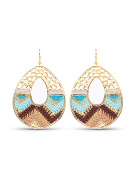 Blue N Brown Dangler Earrings
