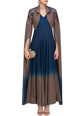 Blue N Brown Jacket Style Anarkali Gown