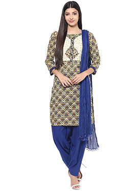 Blue N Cream Cotton Semi Patiala Suit