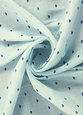 Blue N Cream Digital Printed Linen Georgette Fabric