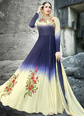 Blue N Cream Embroidered Abaya Style Anarkali Suit