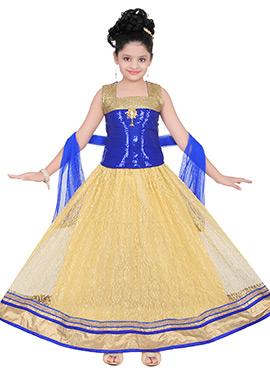 Blue N Cream Net Satin Kids Gown