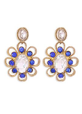 Blue N Gold Crystals Drop Earrings