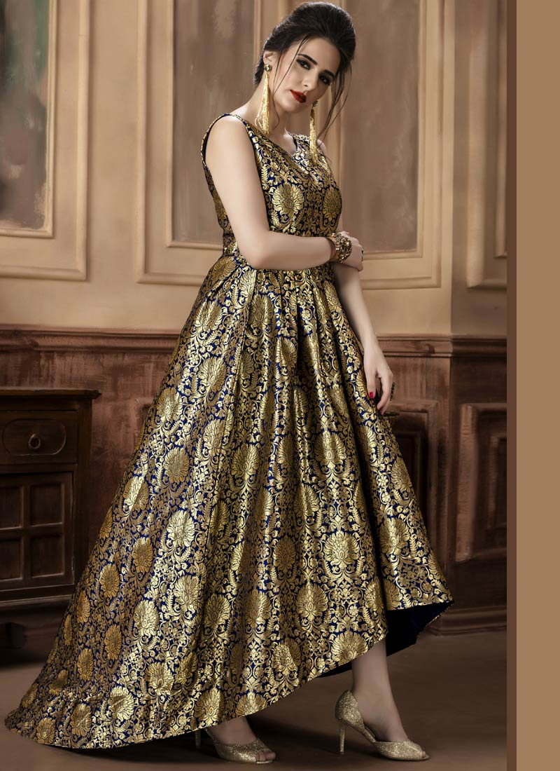 Buy Blue N Gold Jacquard Gown, Jacquard, dresses and gown Online ...