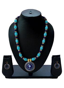 Blue N Gold Necklace Set