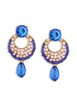 Blue N Gold Stone N Crystals Studded Danglers
