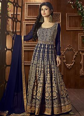 Blue N Golden Georgette Anarkali Suit