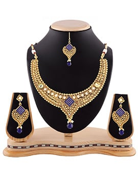 Blue N Golden Necklace Set