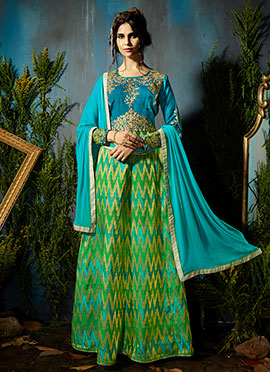 Blue N Green Abaya Style Anarkali Suit