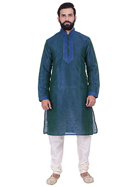 Blue N Green Art Dupion Silk Kurta Pyjama