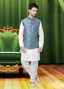 Blue N Green Art Silk Brocade Nehru Jacket
