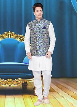 Blue N Green Art Silk Brocade Nehru Jacket