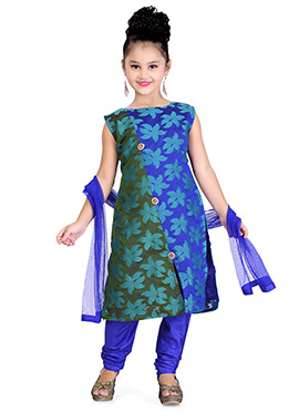 Blue N Green Art Silk Kids Churidar Suit