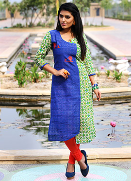 Blue N Green Art Silk Kurti