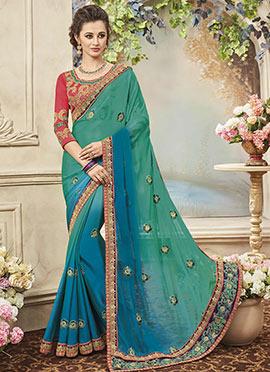 Blue N Green Art Silk Saree