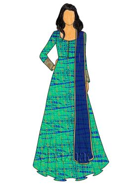 Blue N Green Dual Tone Art Silk Abaya Style Anarkali Suit