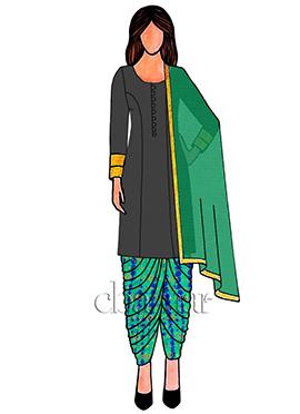 Blue N Green Dual Tone Art Silk Patiala Suit