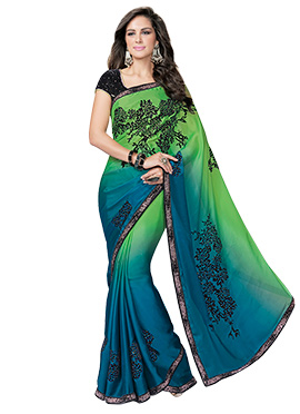 Blue N Green Embroidered Saree