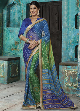 Blue N Green Georgette Saree