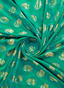 Blue N Green Jacquard Art Silk Fabric