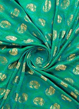 Blue N Green Jacquard Art Silk Fabric