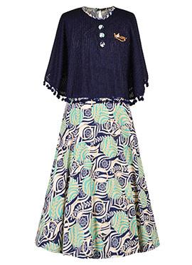 Blue N Green Lycra Kids Gown
