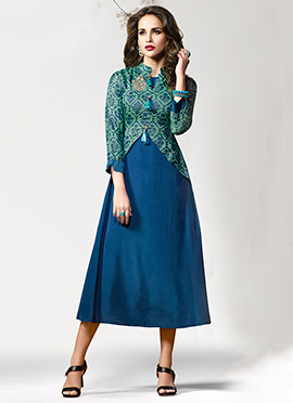 Blue N Green Printed Layered Kurti
