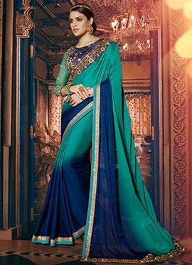 Blue N Green Satin Jacquard Saree