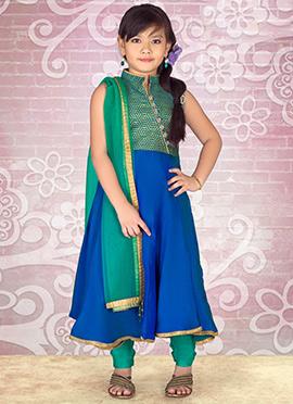 Blue N Green Satin Kids Anarkali Suit