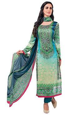 Blue N Green Satin Straight Pant Suit