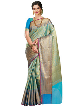 Blue N Green Tone Benarasi Saree